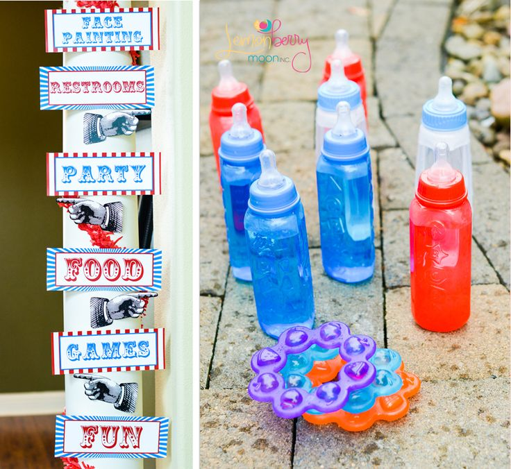 Circus carnival baby shower ring toss game