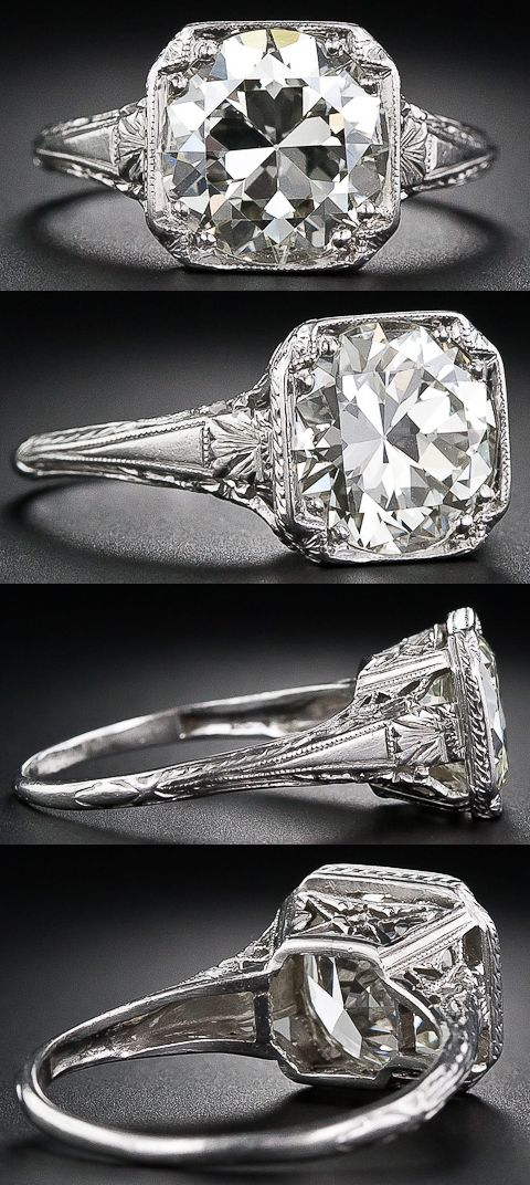 3.26 carat antique diamond engagement ring