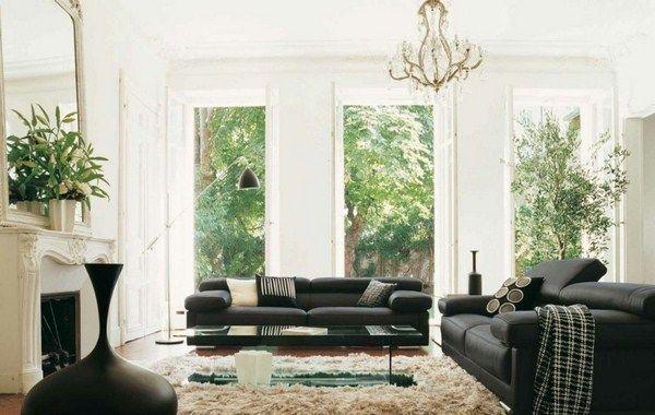 идеи гостиная черный диван каминный старинный белый отель altbau люстра