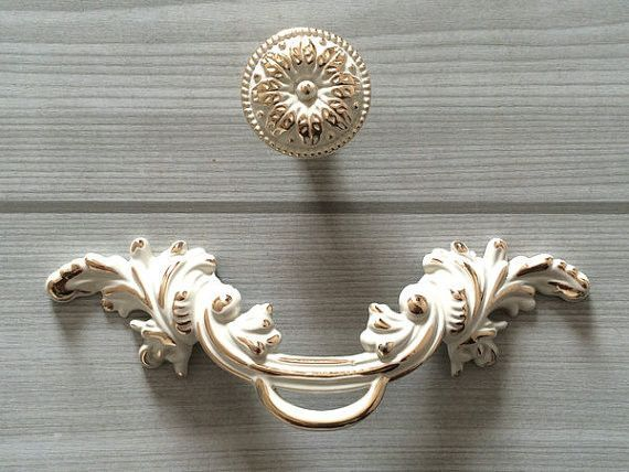 "2.5"" Shabby Chic Dresser Pull Drawer Pulls Handles White Gold Rustic Kitchen Cabinet Handle Door Knobs Pull French Country 64 Mm"