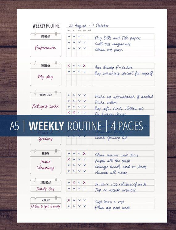 Weekly Routine Printable Checklist Is A Home Management Planner Insert For Flylady S Basic Weekly Plan Followers Routine Printable Printable Checklist Weekly Routine