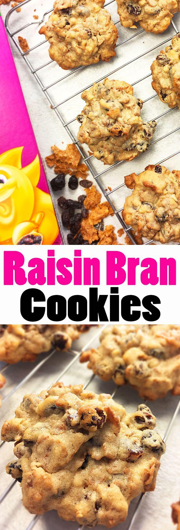 Easy Raisin Bran Cookies made with Kellogg's Raisin Bran Cereal. A #vintage #recipe featuring delicious molasses. #Raisin #bran #cookies #Yummy