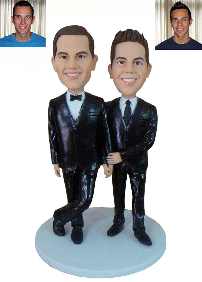 Gay Wedding Cake Topper created from their photos by My Memory Dolls LGBT Custom Wedding Cake Toppers