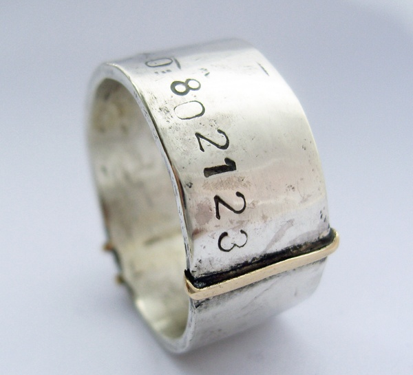silver and gold heavy ring with gps co-ordinates by Lydia Niziblian Jewellery