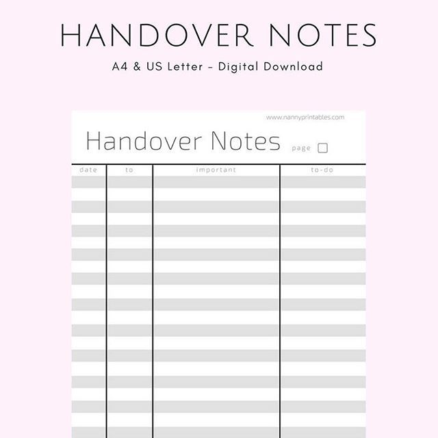 61 best Nanny Printables images on Pinterest Do you, Distance - handover note