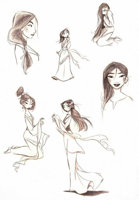Mulan sketches. I hardly ever see any for Mulan, which is a bummer, because she's a beautiful character!