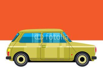 Retro mini car vector