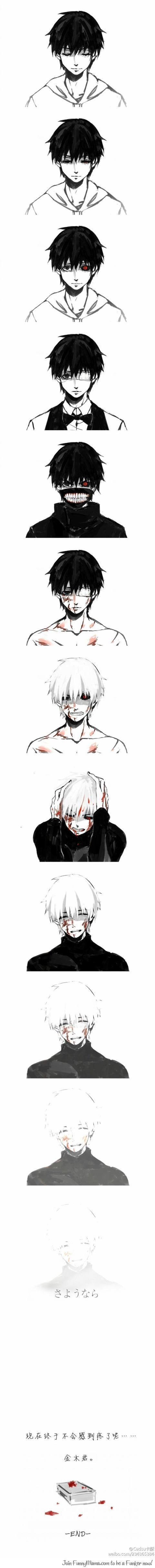 Story of Kaneki Ken---Tribute--- Although I never saw this anime before,it looks so sad and gives a deep feeling to it.