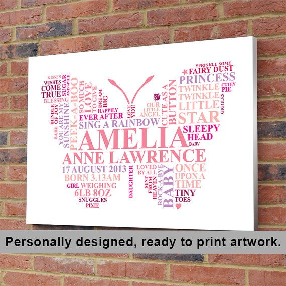 Printable File - baby girl butterfly. Personalised Word Art gift. Nursery picture newborn baptism new birth christening present, unique on Etsy, £11.00