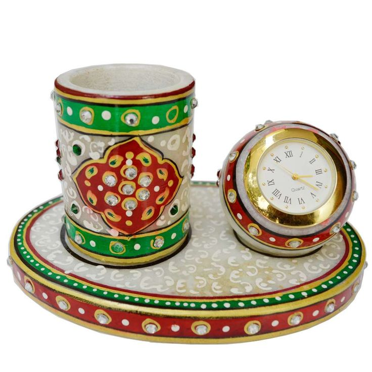 Corporate Meenakari Pen Stand with Clock in Marble (Offer Price: Rs 770 , Offered Discount: 23%) ** BUY NOW ** [MRP: Rs 999]