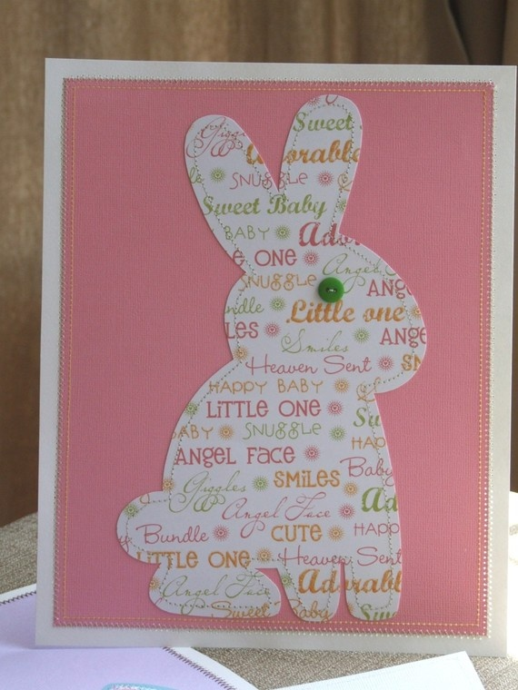 Bunny baby shower invitation with sewn paper