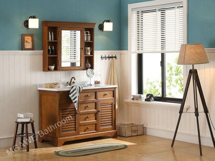 50 inch solid wood bathroom vanity set big medicine cabinet