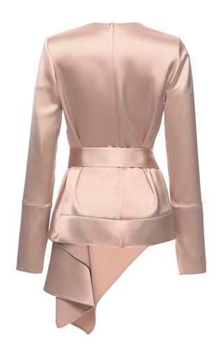 Crepe Satin Asymmetric Long Sleeve Blouse by Marni for Preorder on Moda Operandi