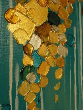 Pintura metalizada escurre por este lienzo Tamaño: 18 x 24 x 1,25 pulgadas Colores: Cercetas, aquas, oro cobre, metal blanco, metálico, metálico bronce, cercetas metálico metálico azul y verdes. La calidad visual de las pinturas metálicas en esta pintura con textura son impresionante y brilla bajo las luces. Pintura está firmada en la parte inferior. Lados del lienzo están pintadas por lo que su nueva pintura está listo para colgar. La pintura es claro cubierto con una capa resistente a la…