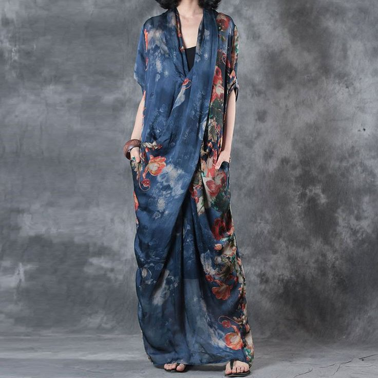 Printing Women Summer Loose Casual Irregular Silk Floral Blue Dress