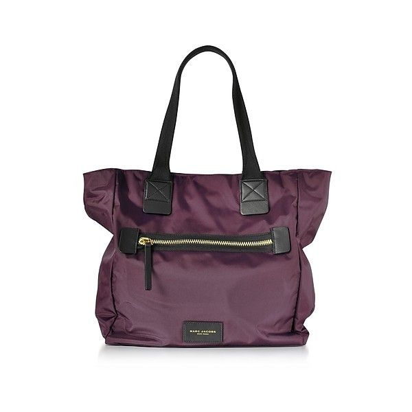 Marc Jacobs Handbags Dark Violet Nylon Biker NS Tote Bag ($240) ❤ liked on Polyvore featuring bags, handbags, tote bags, violet, lightweight tote bag, marc jacobs tote bag, purple tote, hand bags and bike pouch