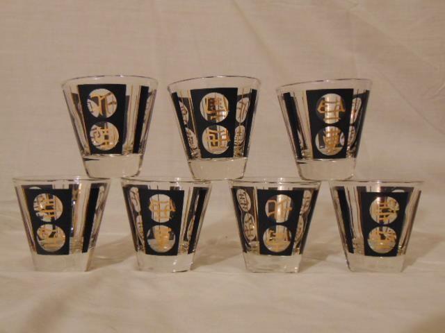 RARE MID CENTURY MODERN HOLLYWOOD REGENCY 1950s ERA ELEGANT BLACK & GOLD CHINESE WRITING SYMBOLS COCKTAIL ROCKS BAR SHOT GLASSES SET OF 7    eBay #HollywoodRegency #MCM #MidCenturyModern #1950s #Bar #Barware #Home #Entertaining #Party #Glass #Glassware #ShotGlasses #BarGlasses #Cocktails #Alcohol #Liquor #VintageBar #VintageBarware #HomeBar #VintageHome #VintageGlass #VintageGlassware #CHINA #Chinese #Asian #Oriental #MadMen