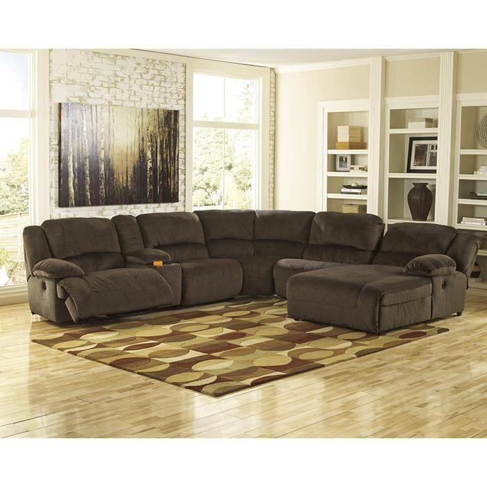 Nebraska Furniture Mart Mattress Sale #24: Toletta 6-Piece Reclining Sectional In Chocolate | Nebraska Furniture Mart