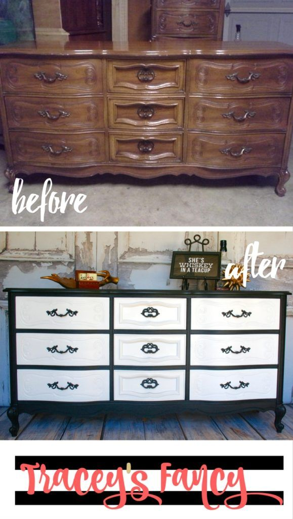 My Black and White Classy Dresser and One Fickle Client   Tracey's Fancy   Painted Furniture Makeover
