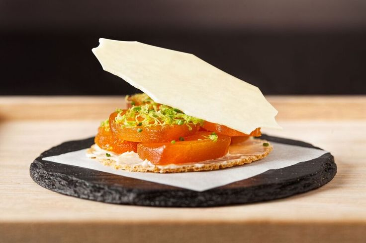 83 - FUNKY GOURMET Greek Bottarga tartlet with white chocolate. Elite Traveler Top 100 Restaurants in the World 2016.