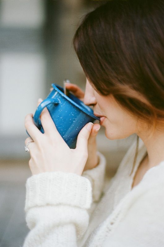 Blue enamel mug (I own one just like this that I use every day!)