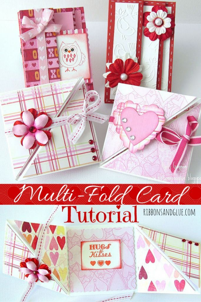 Valentine's Multi-Fold Card Tutorial.  How to make accordion and triangular tri-fold cards!  Great picture tutorial. #valentinesdaycards #cardtutorial
