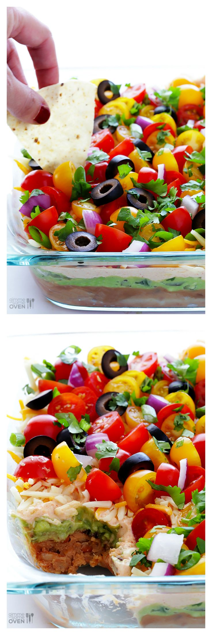 7 Layer Dip -- fresh, colorful, delicious and perfect for game day!   gimmesomeoven.com #appetizer