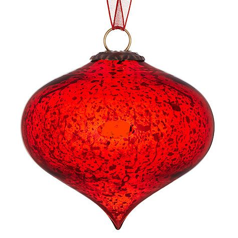 Buy John Lewis Mercurised Glass Onion Bauble Red Online