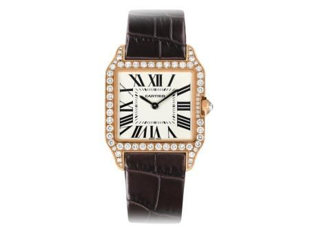 Check out this Cartier Santos-Dumond watch in pink gold with a quartz dial, leather strap and diamond accents!