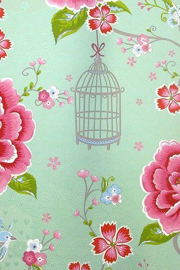 tapet Pip Design Birds in paradise grön