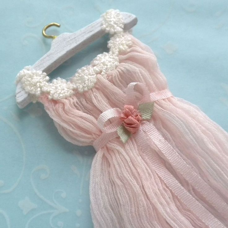 Gorgeous Pink Dress Lingerie Silk Rose Lace by Mzia Dsamia Dollhouse Miniature   eBay