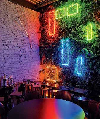 A bar with neon lights. Get a customised neon sign to dress up your wall on www.sygns.com