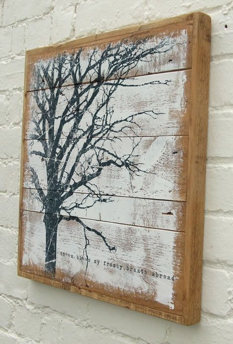 Reclaimed wood painting art pinterest the white for Mural on wood