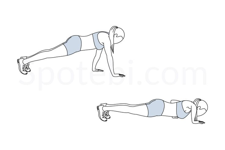 Staggered arm push up exercise guide with instructions, demonstration, calories burned and muscles worked. Learn proper form, discover all health benefits and choose a workout. https://www.spotebi.com/exercise-guide/staggered-arm-push-up/