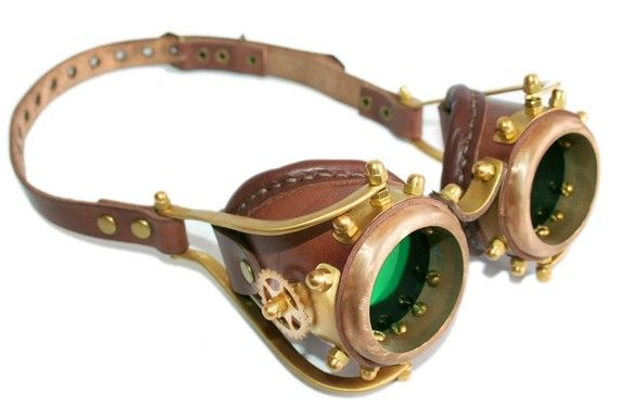 Steampunk goggles from solid brass (Anatoray Volunteer's widespread design No.6) BROWN LEATHER GREEN LENSES