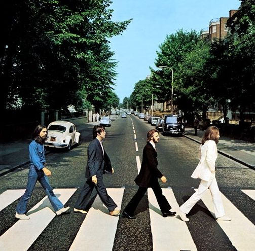Maybe the greatest album cover of all time - The Beatles. (This album cover shows off a number of cooler colors like green and blue etc. Blue can be associated with stability and green can be associated with freshness.)