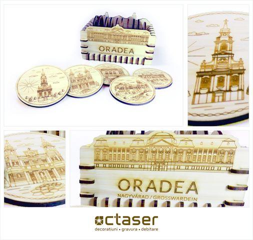Produsul prezentat astazi este un suport de pahar realizat de Octaser prin debitare laser, fiind un suvenir cu unul dintre cele mai frumoase orase din Romania, si anume Oradea.