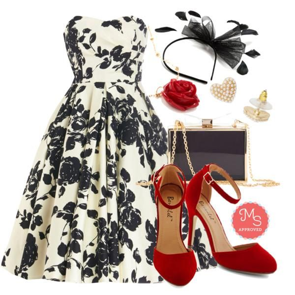 In this outfit: Mesmerize and Shine Dress, Dinner and Dancing Heel in Rouge, Sweet Structure Clutch, After Your Heart Earrings, Retro Rosie Necklace in Red, Dainty Delight Headband in Black    #black&white #popofred #OOTD