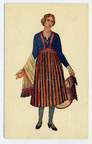 Latvian National Costumes Latvia Talsi 1926 A Cirulis Salamandra Riga Postcard
