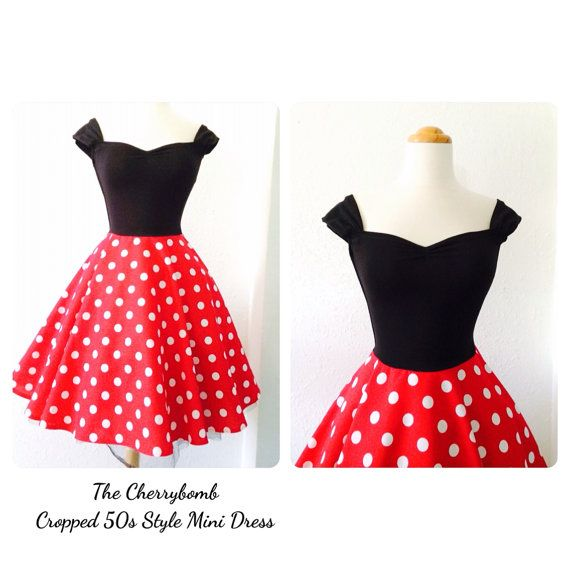 The CHERRYBOMB Mini Dress, ROCKABILLY 50s  Swing Dress, Pin Up Full Circle Skirt Capped Sleeve Off the Shoulder Polkadotted Sexy Dress