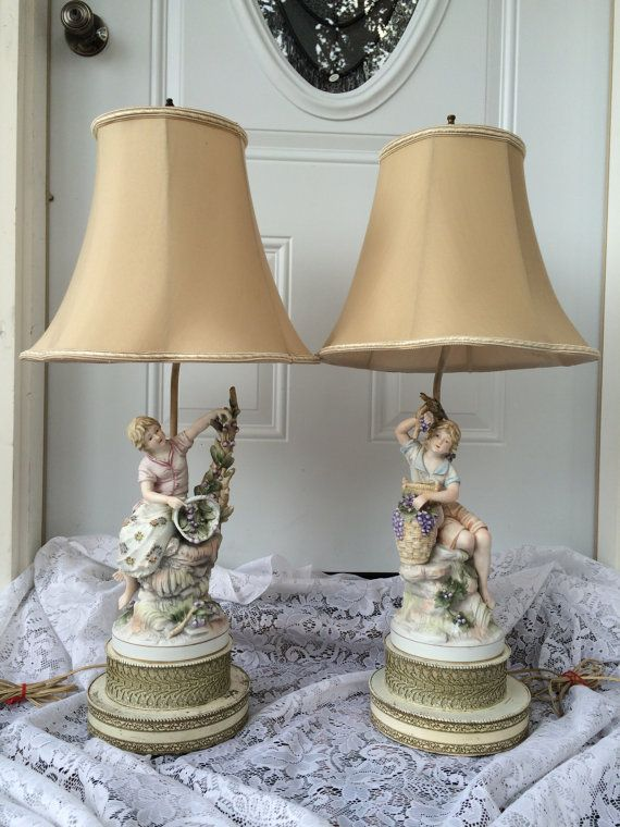 Lamp French Bisque Porcelain Figurine Table Lamps Shabby Chic