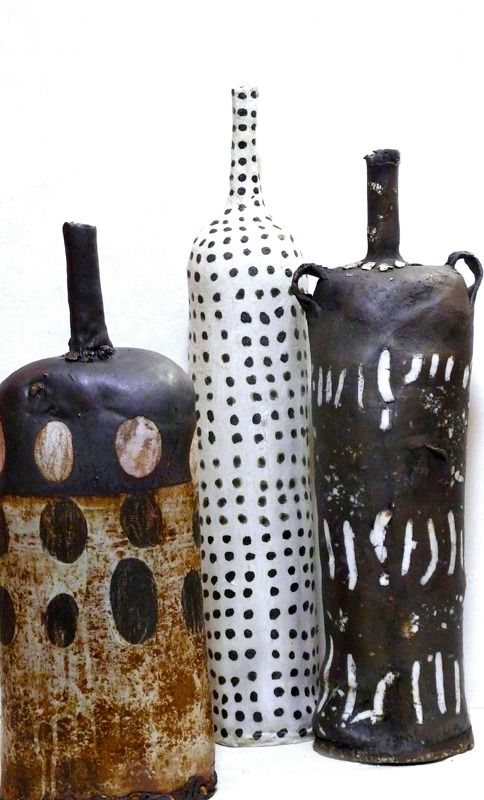 Brenda Holzke | 'Relics Series' (Date Unknown). Ceramic bottles. Stoneware, porcelain, glaze iron oxide.