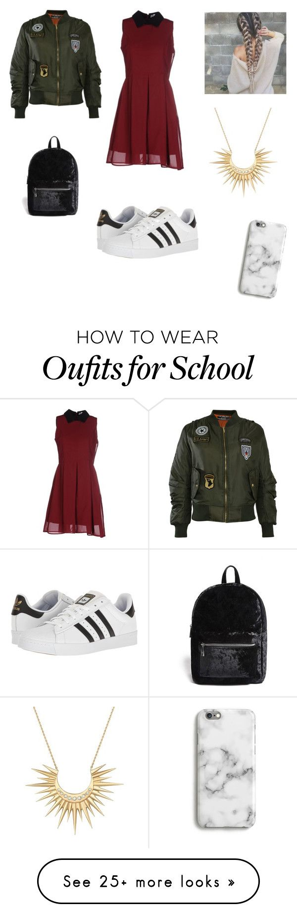 """""""School outfit"""" by sunsetburst on Polyvore featuring Anonyme Designers, Pilot, adidas, Forever 21, Harper & Blake and Celine Daoust"""