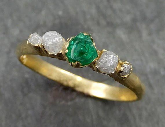 Bruto bruto Esmeralda gratis diamantes 18k oro anillo de uno