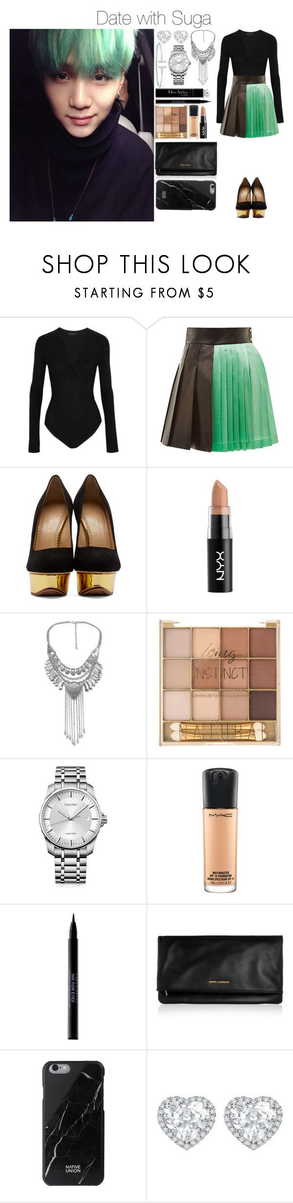 """Date with Suga"" by yonce4park ❤ liked on Polyvore featuring Donna Karan, FAUSTO PUGLISI, Charlotte Olympia, Calvin Klein, MAC Cosmetics, Urban Decay, Yves Saint Laurent, Native Union, Kiki mcdonough and Tiffany & Co."