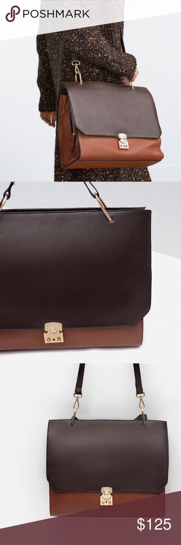 Zara Combibed Leather City  Bag Authentic leather - new with tags Zara Bags