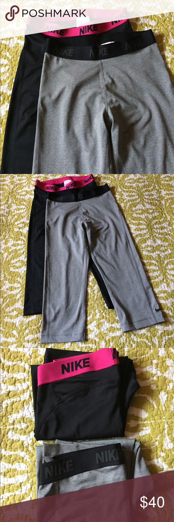 Nike leggings Nike Dry Fit leggings (2 pairs). One black with pink waist band one grey with a black waist band. Both size Medium and cropped style. Perfect condition. Only worn once. Nike Pants Leggings