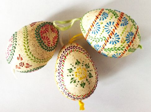 Pisanki - eggs made in Poland by folk artist from Kujawy. Decorated by a wax.