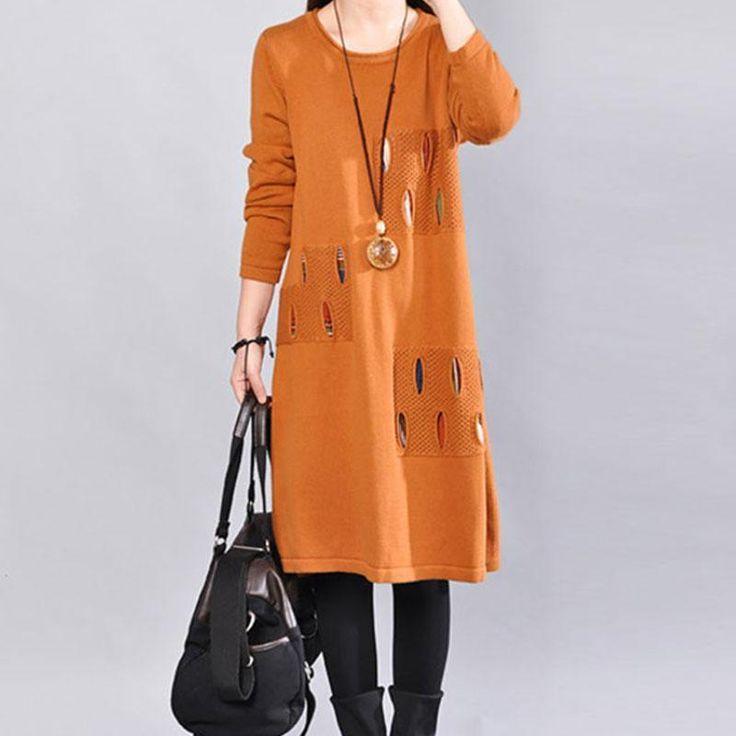 Literature Long Sleeves Autumn Loose Women Orange Sweater Dress