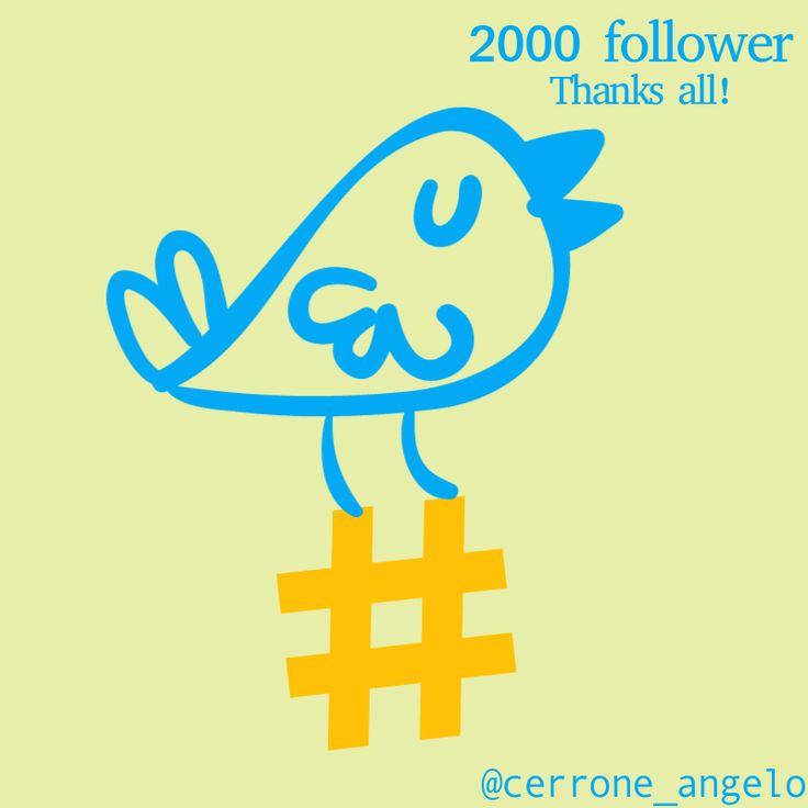 #twitter Oggi festeggio i miei primi 2000 follower